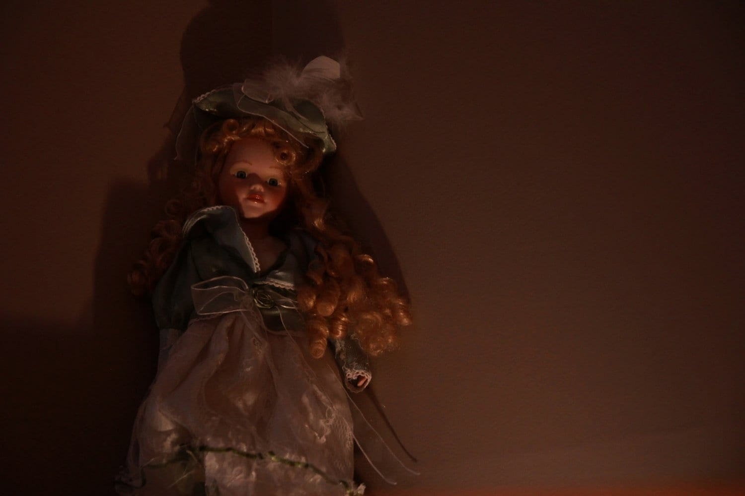 A still from the set of the short film Apparitions. A creepy doll.