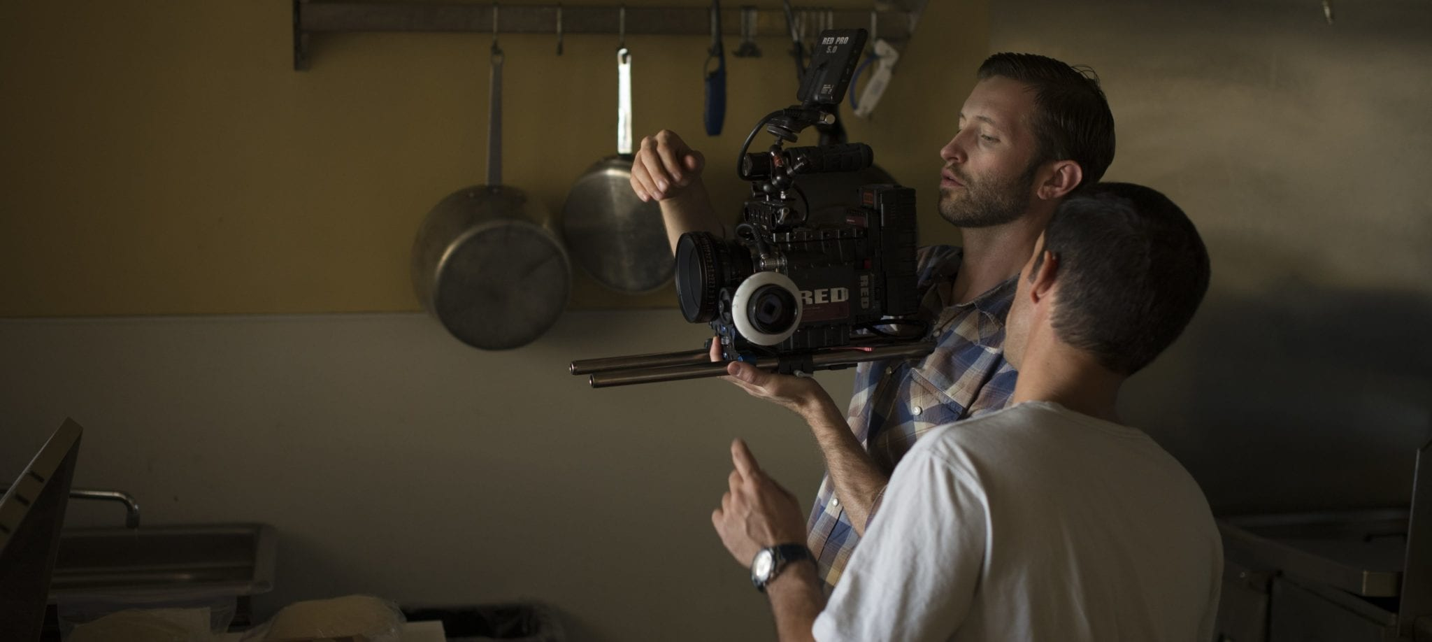 A two man crew shooting on a Red Epic for one of their film jobs.