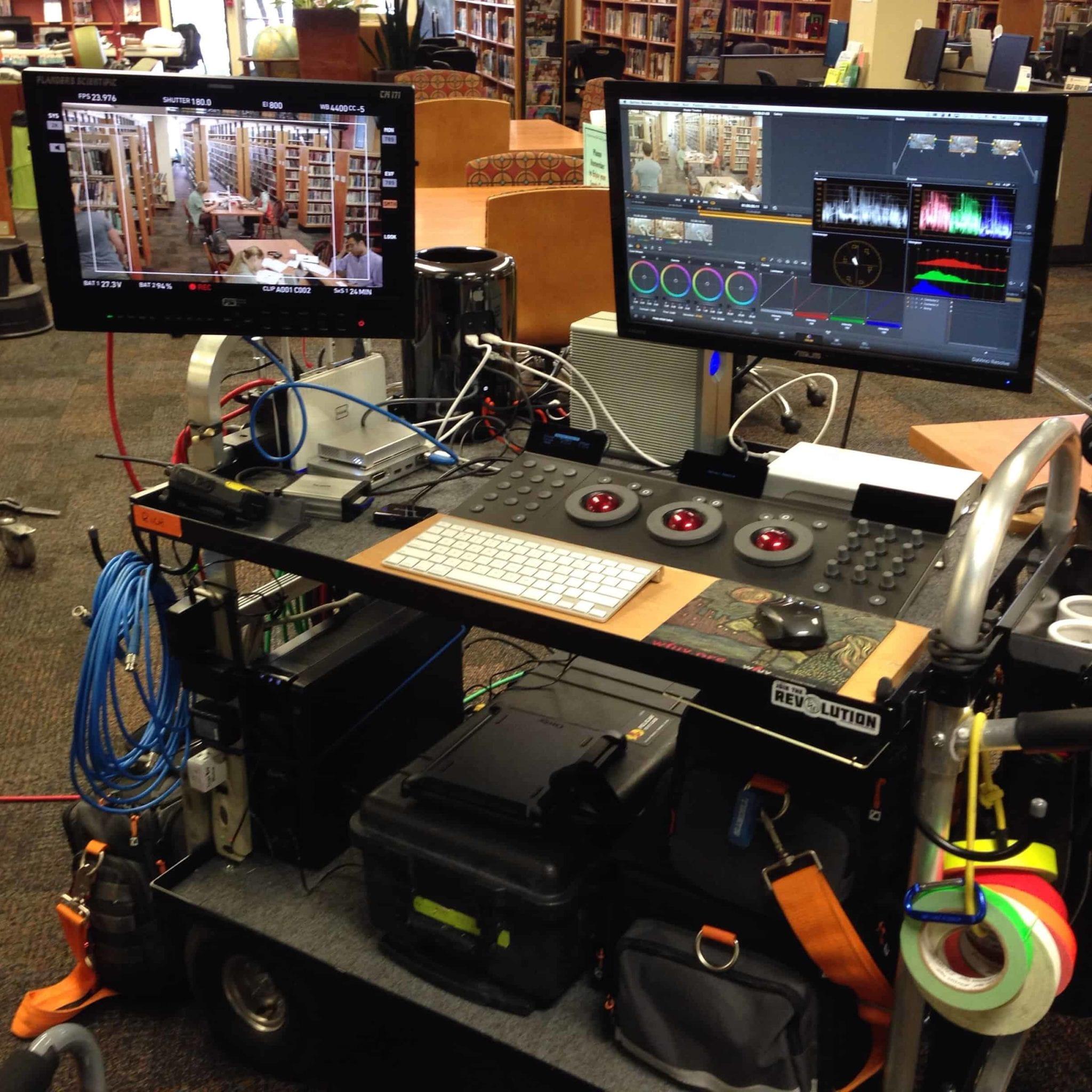 A DIT cart on a film set.
