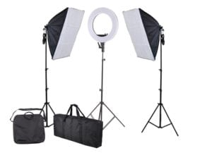 A photo of a ring light and a softbox light